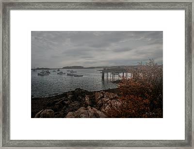 Cape Porpoise Fog Rolls In Framed Print by Bob Orsillo