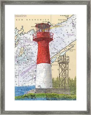 Cape Spencer Lighthouse Nb Canada Nautical Chart Map Art Framed Print