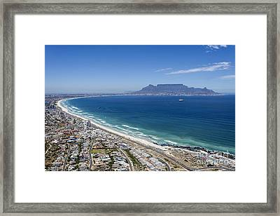 Cape Town And Table Mountain Framed Print by Peter Chadwick