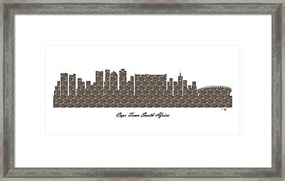 Cape Town South Africa 3d Stone Wall Skyline Framed Print
