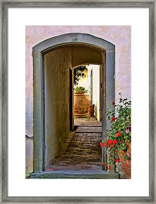 Capezzana Doorway Framed Print by Gej Jones