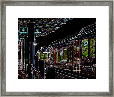 Capital Metro Rail In Neon Framed Print
