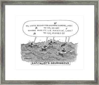 Capitalists Courageous Framed Print by Mick Stevens