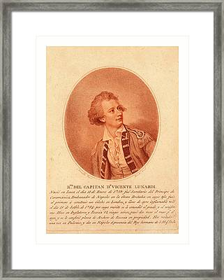 Capitan Dn. Vincente Lunardi. Nesmith Framed Print by English School