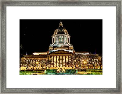 Capitol At Night Framed Print by David Stine