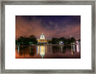 Framed Print featuring the photograph Capitol At Night by Michael Donahue