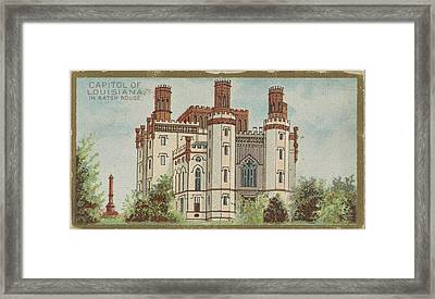 Capitol Of Louisiana In Baton Rouge Framed Print by Issued by Allen & Ginter