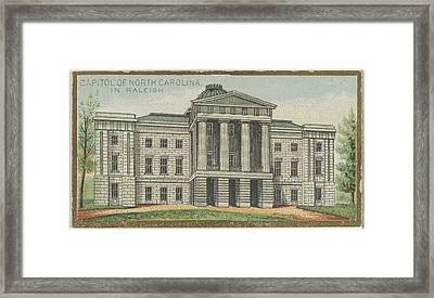 Capitol Of North Carolina In Raleigh Framed Print by Issued by Allen & Ginter