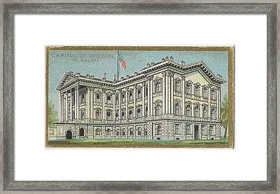 Capitol Of Oregon In Salem Framed Print by Issued by Allen & Ginter