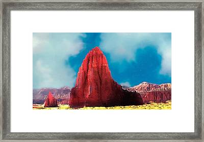 Capitol Reef Temple Of The Sun Painting Forsale Framed Print by Bob and Nadine Johnston