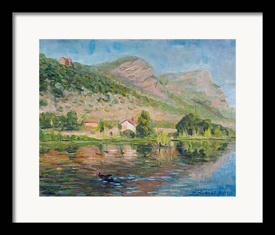 Water Reflection Landscape Italy Pond Dunk Impression Sun Sunny Framed Prints
