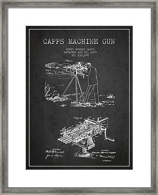 Capps Machine Gun Patent Drawing From 1899 - Dark Framed Print by Aged Pixel