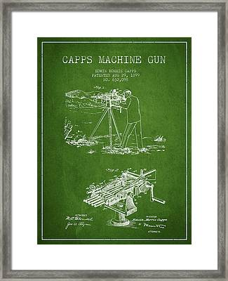 Capps Machine Gun Patent Drawing From 1899 - Green Framed Print