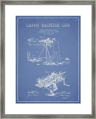 Capps Machine Gun Patent Drawing From 1899 - Light Blue Framed Print
