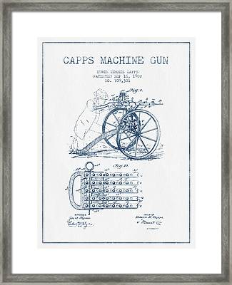 Capps Machine Gun Patent Drawing From 1902 -  Blue Ink Framed Print by Aged Pixel