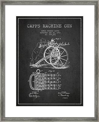 Capps Machine Gun Patent Drawing From 1902 - Dark Framed Print