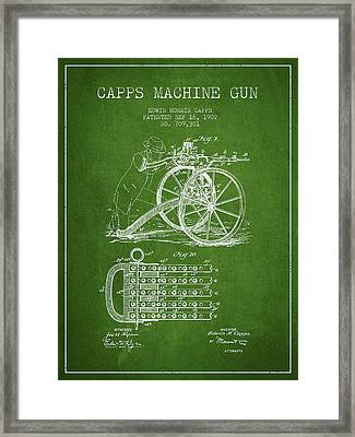 Capps Machine Gun Patent Drawing From 1902 - Green Framed Print