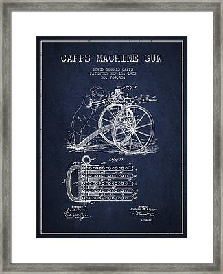 Capps Machine Gun Patent Drawing From 1902 - Navy Blue Framed Print by Aged Pixel