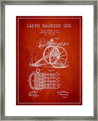Capps Machine Gun Patent Drawing From 1902 - Red Framed Print