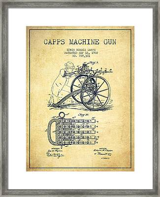 Capps Machine Gun Patent Drawing From 1902 - Vintage Framed Print
