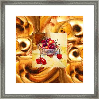 Cappuccino Abstract Collage Cherries Framed Print by Irina Sztukowski