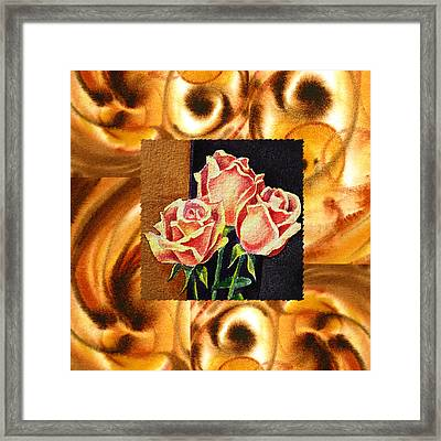 Cappuccino Abstract Collage French Roses Framed Print by Irina Sztukowski