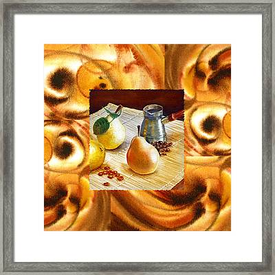 Cappuccino Abstract Collage Pears Framed Print by Irina Sztukowski
