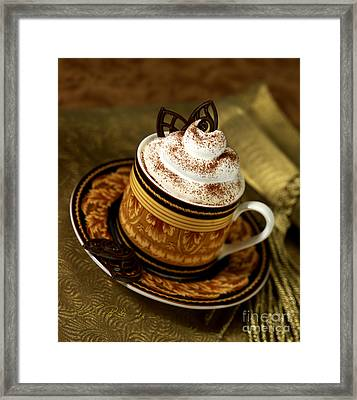 Cappuccino Coffee On Gold Framed Print by Iris Richardson