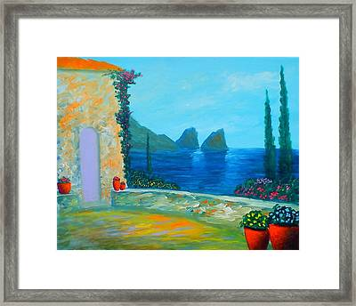 Framed Print featuring the painting Capri Colors by Larry Cirigliano