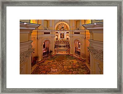 Capri San Michele Church Decorated Pavement Framed Print by Enrico Pelos