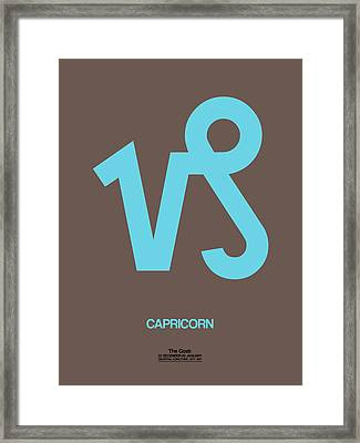 Capricorn Zodiac Sign Blue Framed Print by Naxart Studio