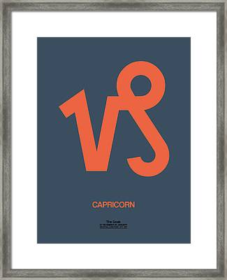 Capricorn Zodiac Sign Orange Framed Print by Naxart Studio