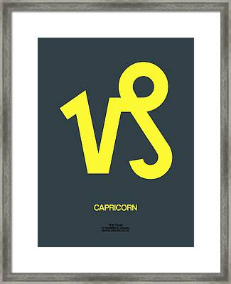 Capricorn Zodiac Sign Yellow Framed Print by Naxart Studio