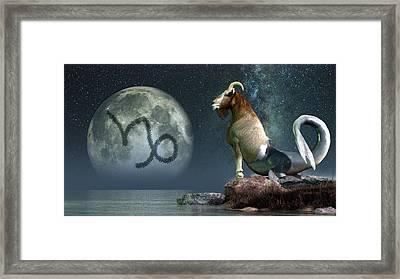 Capricorn Zodiac Symbol Framed Print by Daniel Eskridge