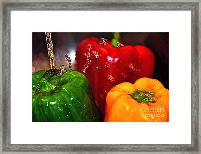 Capsicum In The Wash Framed Print by Kaye Menner