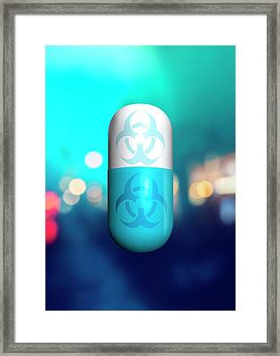 Capsule And Biohazard Framed Print by Victor Habbick Visions