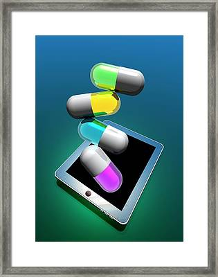 Capsules And Digital Tablet Framed Print by Victor Habbick Visions