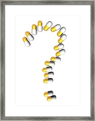 Capsules In Question Mark Framed Print