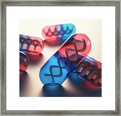 Capsules With Dna Framed Print