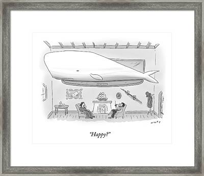 Captain Ahab And His Wife Sit In Their Living Framed Print by Kim Warp