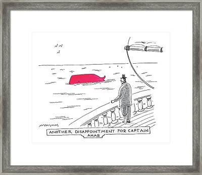 Captain Ahab Looks Out Into The Ocean At A Bright Framed Print by Mick Stevens