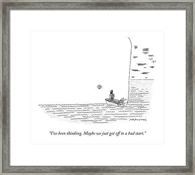 Captain Ahab Rows A Small Boat Right Up To Moby Framed Print by Mick Stevens