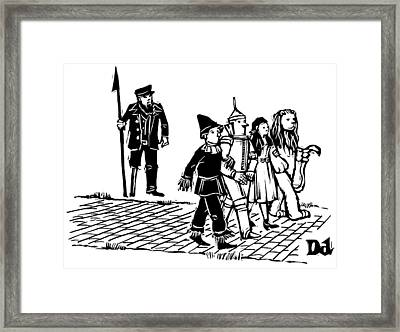 Captain Ahab Stands Speaking At The Yellow Brick Framed Print by Drew Dernavich