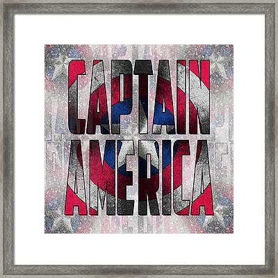Captain America Shield Typography Design Framed Print
