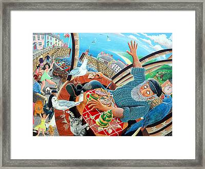 Captain Cat Blindly Sees The Village Life Go By, 2005 Acrylic On Panel Framed Print by Tony Todd