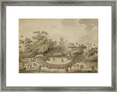 Captain Cook And Chiefs Framed Print by British Library