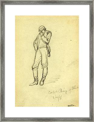Captain Craig Of Flints Staff, 1863, Drawing On Cream Paper Framed Print by Quint Lox