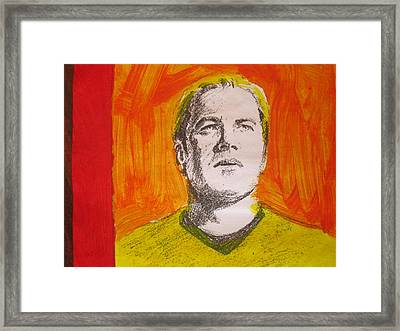 Captain James T Kirk - Rendering With Pencil And Paint Framed Print