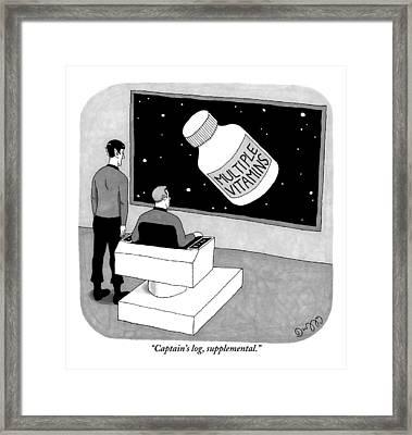 Captain Kirk And Commander Spock Observe A Large Framed Print