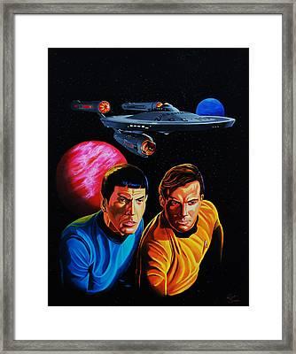 Captain Kirk And Mr. Spock Framed Print by Robert Steen